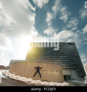 man,council house,driveway - Stock Image