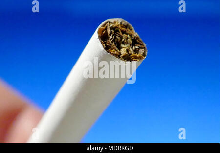 One cigarette in hand macro shot on isolated background - Stock Image