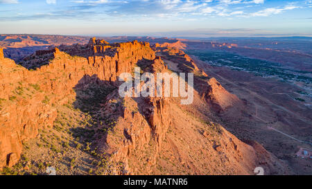 The Moab Wall at sunrise, Behind the Rocks Proposed Wilderness, Utah, Moab, Utah beyond - Stock Image