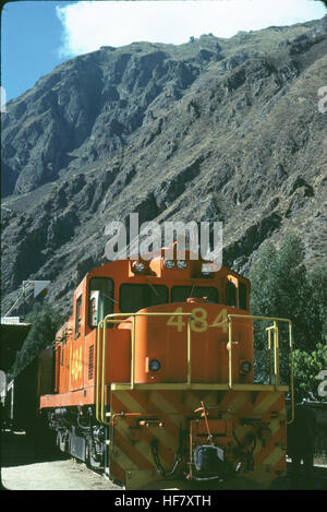Locomotive pushing the train from behind to get up the switch backs to Machu Picchu; Peru. - Stock Image