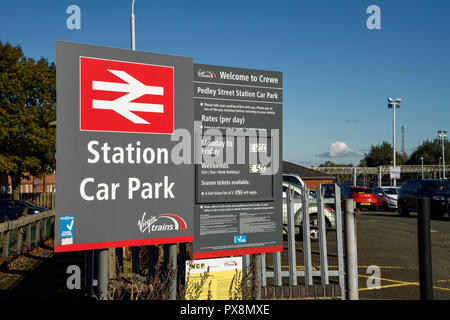 The entrance sign to Pedley Street Station Car Park near the railway station in Crewe UK - Stock Image