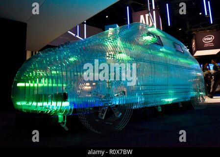 Intel's transparent vehicle showcases Mobileye, AI,CES (Consumer Electronics Show), the world's largest technology trade show, held in Las Vegas, USA. - Stock Image