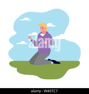 man on his knees outdoors background vector illustration - Stock Image