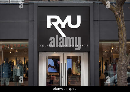TORONTO, CANADA - NOVEMBER 13, 2018: Ryu Store logo in front of their shop in Toronto. Ryu, or Respect Your Universe, is a Canadian Urban Atheltic App - Stock Image