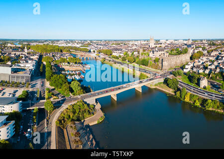 Angers aerial panoramic view. Angers is a city in Loire Valley, western France. - Stock Image