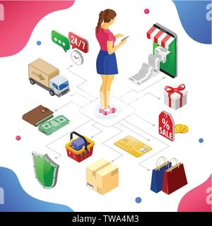 Internet Shopping Online Payments Isometric Concept - Stock Image