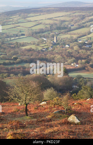 View from Bell Tor towards Widecombe village on Dartmoor in Devon - Stock Image