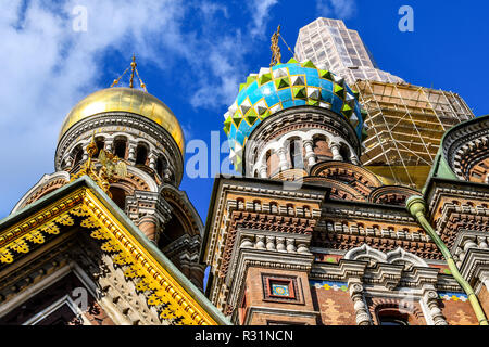 The medieval onion domes and facade of the Church of the Savior on Spilled Blood in St. Petersburg, Russia. - Stock Image