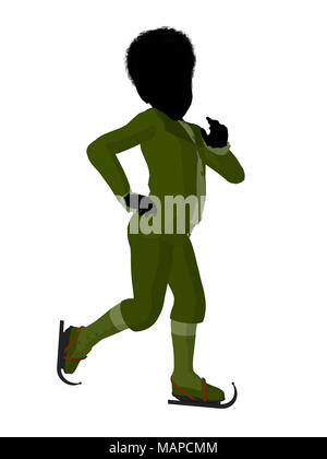 African american victorian boy on ice skates silhouette on a white background - Stock Image