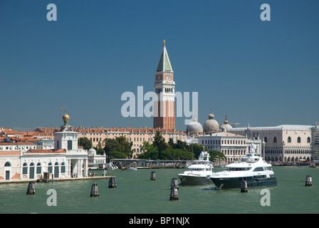 Campanile di San Marco or Bell Tower and canal, St Marks, Venice Italy - Stock Image