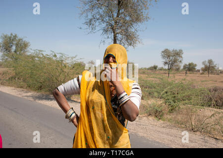 Portrait of a woman from the Bishnoi religious sect, India. - Stock Image
