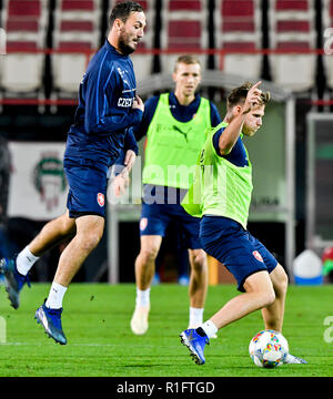 Prague, Czech Republic. 12th Nov, 2018. Martin Dolezal, left, and Tomas Kalas, players of the Czech national soccer team, attend the training prior to friendly match with Poland and match of Nationals League with Slovakia in Prague, Czech Republic, November 12, 2018. Credit: Vit Simanek/CTK Photo/Alamy Live News - Stock Image