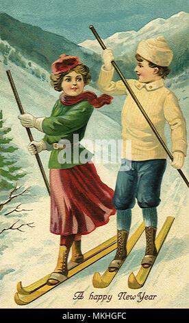 Boy and Girl Ski Together - Stock Image
