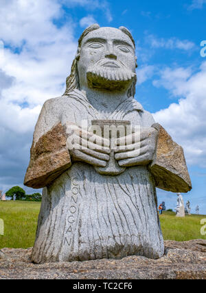 St konogan granite sculpture at the Valley of the Saints, Quenequillec, Brittany, France. - Stock Image