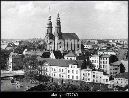 POLAND - CIRCA 1970: A postcard printed in Poland, depicts the Old Town of Opole and the Cathedral of Opole, circa - Stock Image