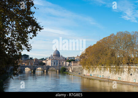 The River Tiber in Rome, Italy looking towards the Vatican City - Stock Image