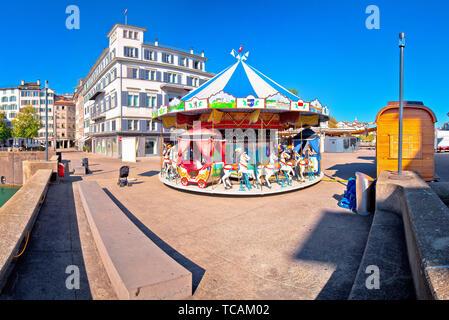 Zurich street scene carousel view, landmarks of Switzerland - Stock Image