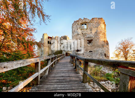 Slovakia - ruin of castle Uhrovec at nice autumn sunset landscape - Stock Image