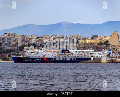 C-bed floating hotels Wind Solution in port of Piraeus Athens Greece Europe - Stock Image