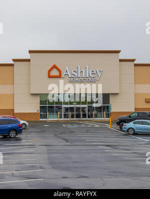 HICKORY, NC, USA-1/3/19: Ashley HomeStore is an American furniture store chain, with over 800 locations worldwide. - Stock Image