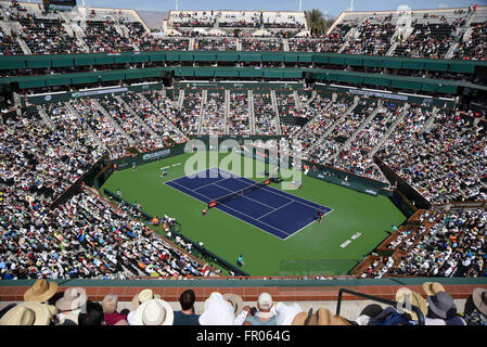 March 20, 2016: A wide angle view of Novak Djokovic in action as he beats Milos Raonic of Canada in the ATP Singles - Stock Image