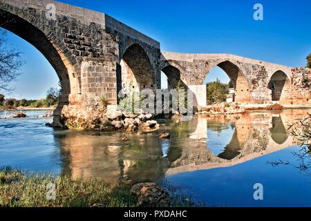 Turkey Turquoise Coast Aspendos Bridge - Stock Image