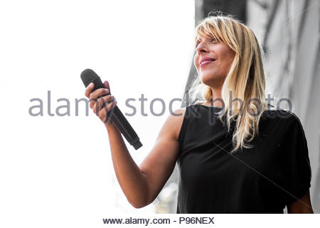 Cats on trees performing live at Musilac festival in Aix-les-Bains (France) - 13 July 2018 - Stock Image
