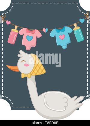 square frame with stork wearing bandana and baby clothes hanging from clothesline rope with feeding bottle vector illustration graphic design - Stock Image