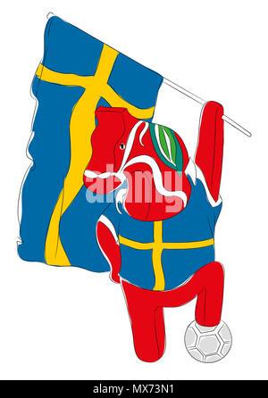 Soccer Mascot for Sweden.  Sweden horse mascot for football tournaments - Stock Image