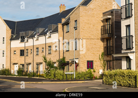 Terraced houses, Orchard Park, Cambridge, England - Stock Image