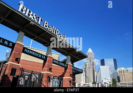 Charlotte, North Carolina. BB&T Ballpark with the skyline in the background. - Stock Image