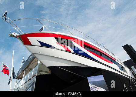Southampton, UK. 11th September 2015. Southampton Boat Show 2015. A Sunseeker 115 sport yacht seen on the stand - Stock Image
