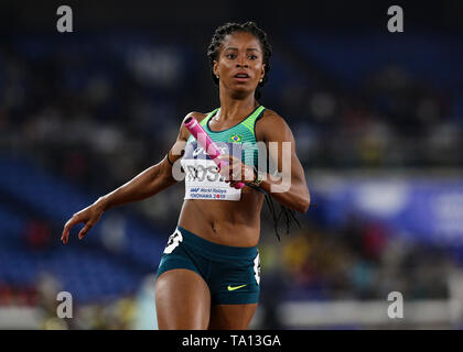 YOKOHAMA, JAPAN - MAY 12: Vitoria Cristina Rosa of Brazil in the women's 4x100m relay final during Day 2 of the 2019 IAAF World Relay Championships at the Nissan Stadium on Sunday May 12, 2019 in Yokohama, Japan. (Photo by Roger Sedres for the IAAF) - Stock Image