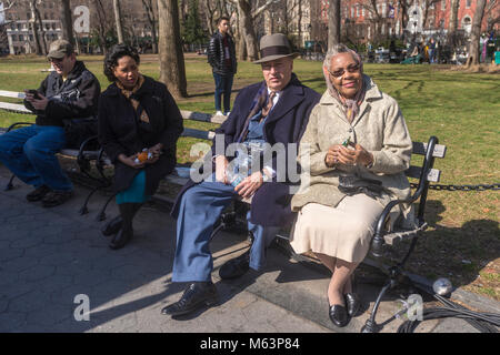 New York, NY, USA 28 February 2018 - On location for the filming of Motherless Brooklyn, in Washington Square Park. - Stock Image