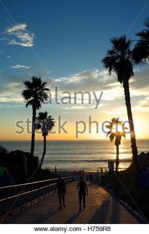 Solana Beach scene, during sunset, in California, USA. - Stock Image