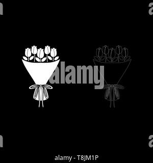 Bouquet of flowers Bouquet of roses Present concept Bouquet of rose flower icon outline set white color vector illustration flat style simple image - Stock Image