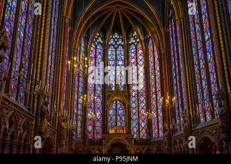 The Chapel section on the upper level of the gothic Sainte-Chapelle Royal Chapel located in the medieval Palais de la Cite in Paris France - Stock Image
