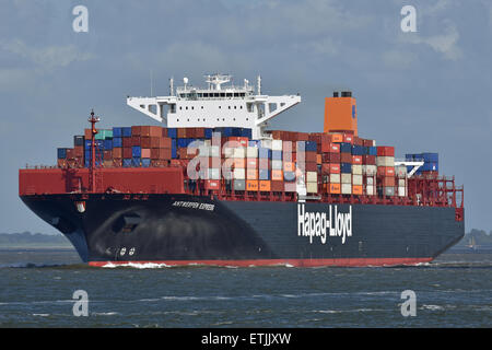 Antwerpen Express outbound from Hamburg - Stock Image