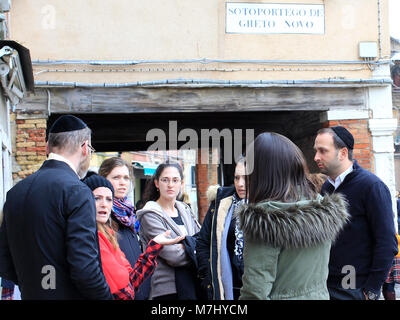 Venice, Italy. 10th, Mar 2018.  Members of Jewish Community in the Campo del Getto Nuovo, during the Shabbat celebrations, - Stock Image