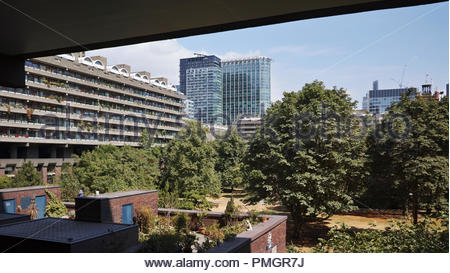 View across the Thomas More gardens in the Barbican Estate: London. - Stock Image