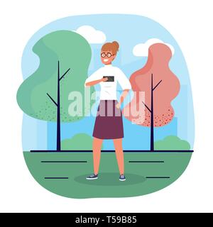 fun woman with smartphone with casual clothes vector illustration - Stock Image