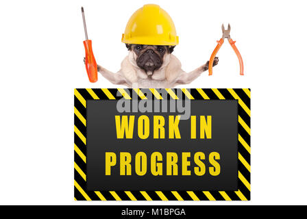 pug dog wearing yellow constructor safety helmet,holding pliers and screwdriver, with warning sign saying work in - Stock Image