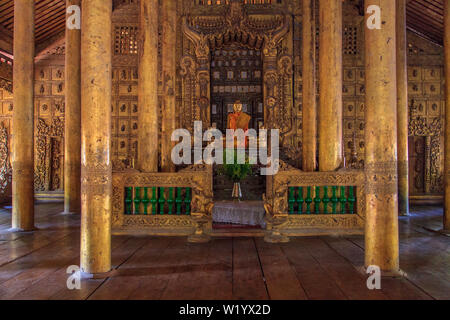 Interior of the Golden Palace Monastery (Mandalay) - Stock Image