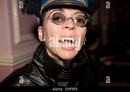 Woman with real fangs at Whitby Goth Weekender. - Stock Image
