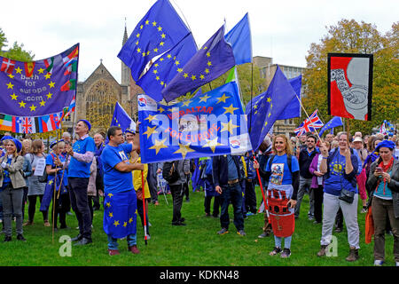 Bristol, UK. 14th October, 2017. Anti-Brexit campaigners attend a rally on College Green in the city centre. The - Stock Image
