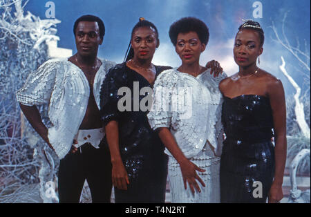 Boney M., Discoformation, bei einem Auftritt im deutschen Fernsehen, Deutschland 1988. Disco band 'Boney M.' performing on German TV, Germany 1988. - Stock Image