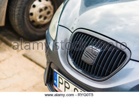 Poznan, Poland - February 24, 2019: Close up of a Seat car front. - Stock Image