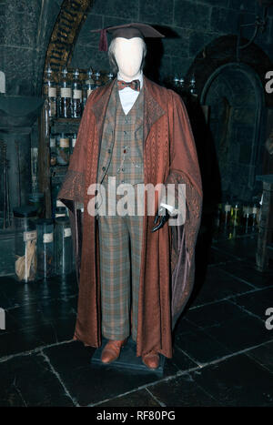 Costume worn by Jim Broadbent, playing Horace Slughorn  in Harry Potter and the Half-Blood Prince and Harry Potter and the Deathly Hallows – Part II. - Stock Image