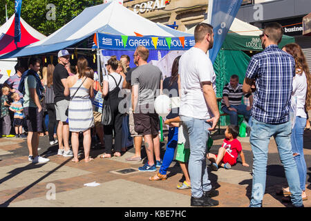 Queue of customers at the Greek Grill house stall at Bolton Food and Drink Festival 2016 - Stock Image