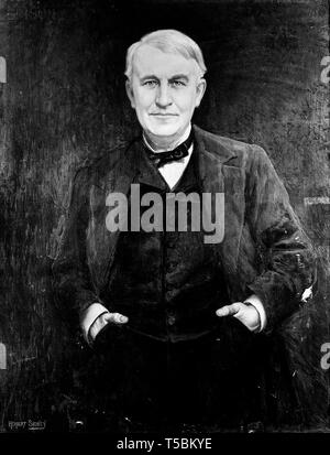 Thomas Edison (1847-1931), portrait painting by Herbert Sydney, 19th Century - Stock Image